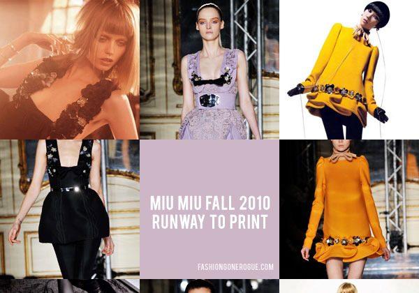 Miu Miu Fall 2010   Runway to Print
