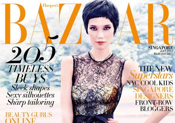 Harper's Bazaar Singapore July 2011 Cover | Tao Okamoto by Gan