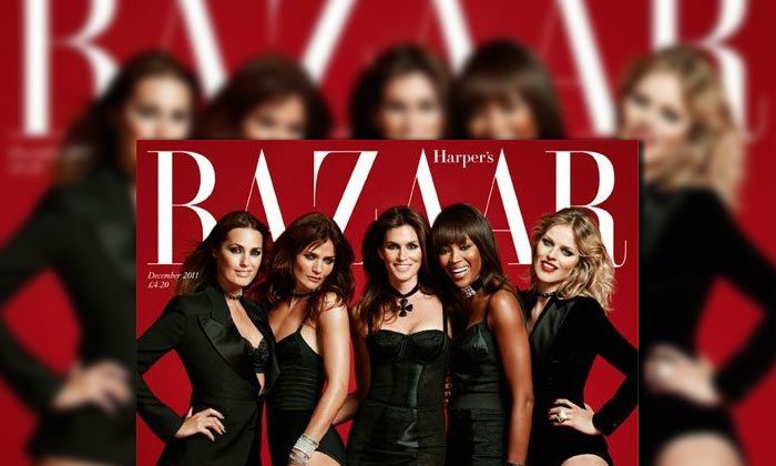 Naomi Campbell, Cindy Crawford, Helena Christensen, Eva Herzigova & Yasmin le Bon Cover Harper's Bazaar UK December 2011