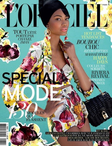 Chanel Iman Covers L'Officiel Paris February 2012 in Dolce & Gabbana
