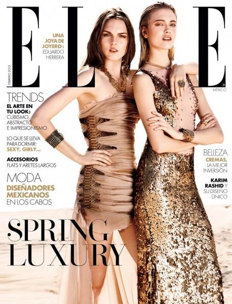 Elle Mexico February 2012 Cover | Anna & Polina by Santiago Ruisenor