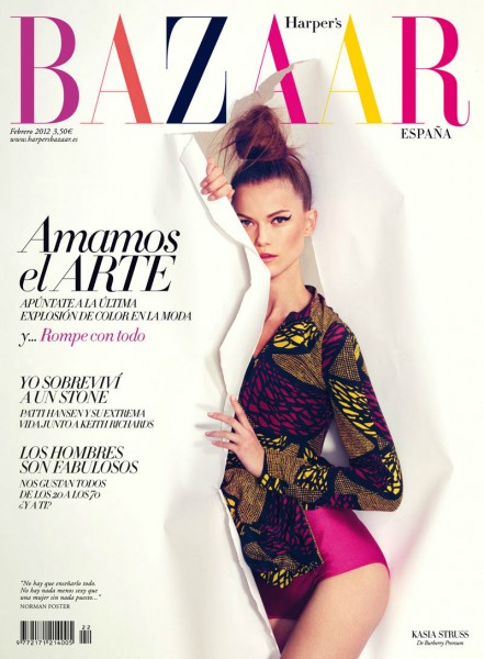 <em>Harper's Bazaar Spain</em> February 2012 Cover | Kasia Struss by Nico