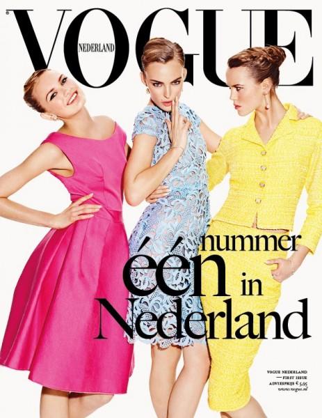 Vogue Netherlands April 2012 Cover | Ymre Stiekema, Josefien Rodermans & Romee Strijd by Marc de Groot