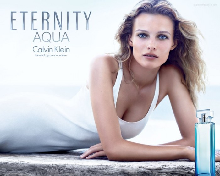 "Edita Vilkeviciute Keeps it Pure in Calvin Klein's ""Eternity Aqua"" Fragrance Campaign by Mario Sorrenti"