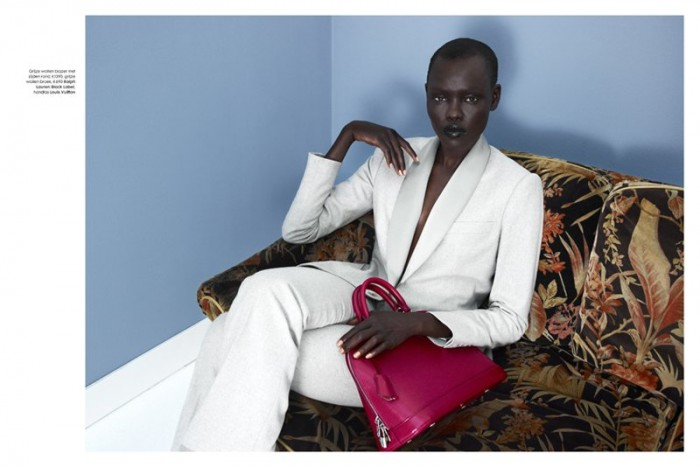 Grace Bol Dons Elegant Pantsuits for Elle Netherlands August 2012