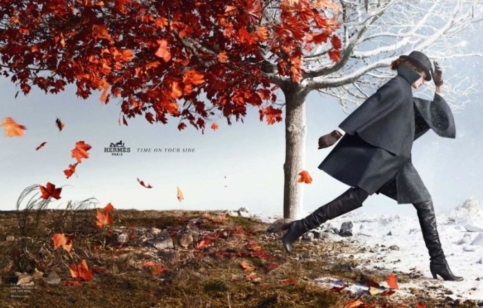 Bette Franke Leaps into Action for Hermès' Fall 2012 Campaign by Nathaniel Goldberg
