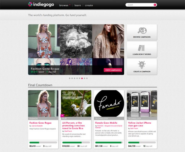 FGR's Campaign Featured on the Front Page of Indiegogo!
