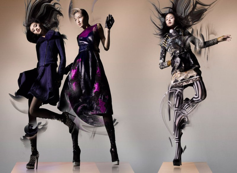 Ming Xi, Xiao Wen & Wang Xiao Are Swept Away for Lane Crawford's Fall 2012 Campaign by Nick Knight