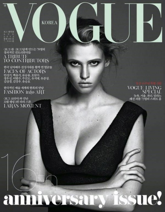 Lara Stone Wows in Calvin Klein on Vogue Korea's August 2012 Cover