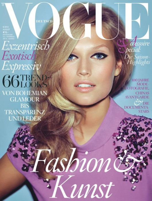 Toni Garrn Dons Bottega Veneta for Vogue Germany's August 2012 Cover