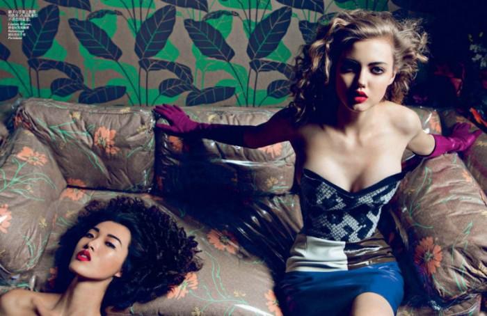 Liu Wen, Tian Yi, Xiao Wen, Lindsey Wixson, Daria Strokous & Marie Piovesan Wear Fall's Seductive Styles for Vogue China September 2012