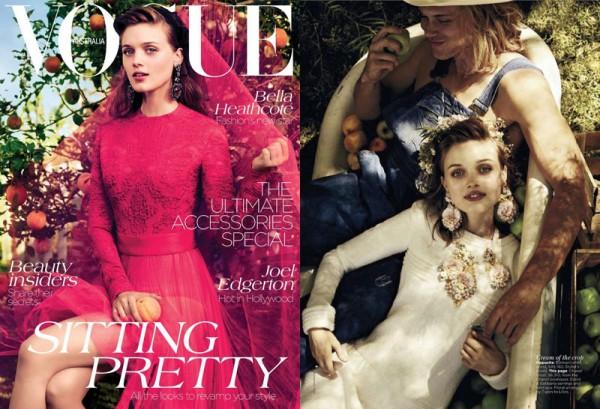 Bella Heathcote Dons Romantic Looks for Vogue Australia's September Cover Story