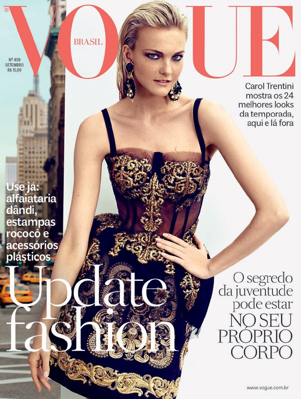 Caroline Trentini Dons Dolce & Gabbana for Vogue Brazil's September 2012 Cover, Lensed by Husband Fabio Bartlet