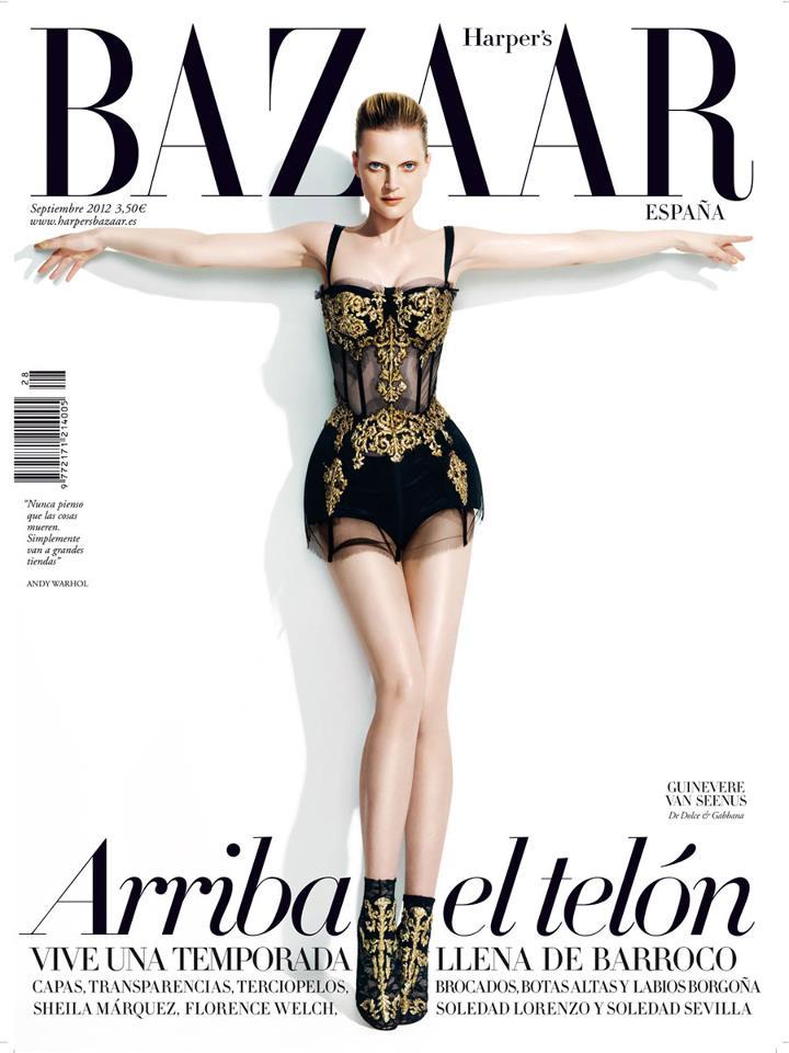 Guinevere van Seenus Covers Harper's Bazaar Spain September 2012 in Dolce & Gabbana