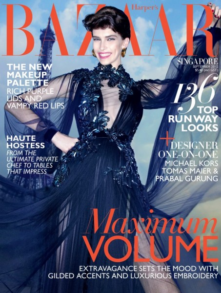 Kristina Salinovic is All Smiles in Gucci on the September Cover of Harper's Bazaar Singapore