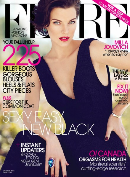 Milla Jovovich Covers Flare's October 2012 Issue in Calvin Klein