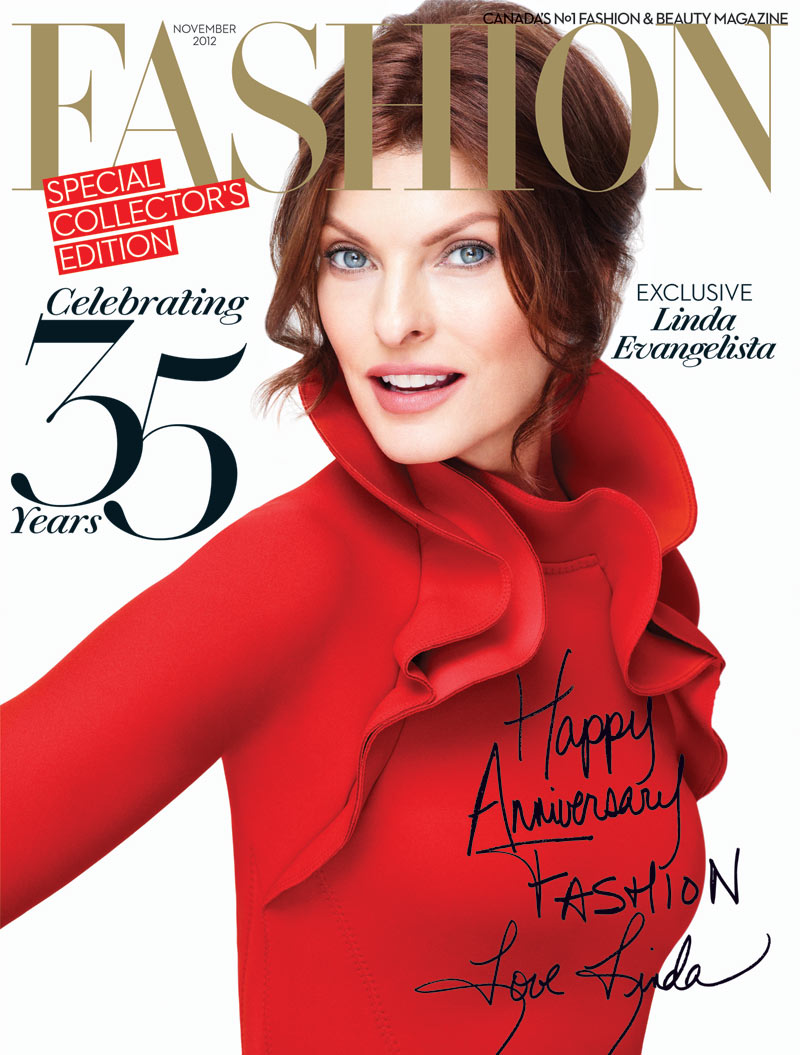 Linda Evangelista Covers The 35th Anniversary Issue Of