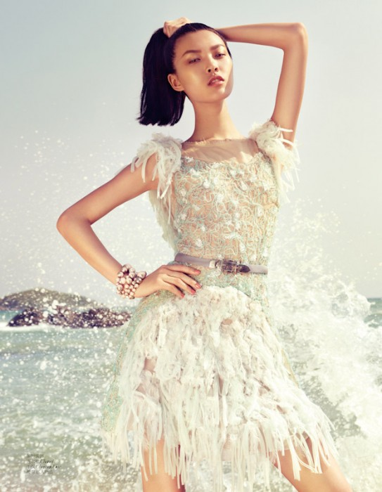 Tian Yi Exudes Summer Elegance in Vogue China, Lensed by Stockton Johnson