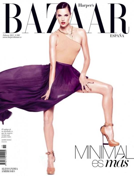 Harper's Bazaar Spain February 2011 Cover   Alessandra Ambrosio by Nico