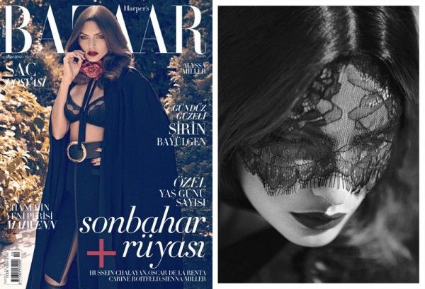 Alyssa Miller Sports Lingerie for Harper's Bazaar Turkey's October Cover Shoot by Koray Birand