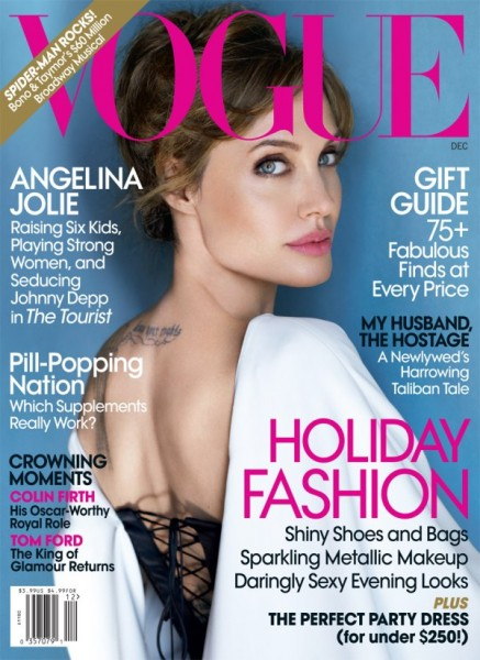 <em>Vogue US</em> December 2010 Cover | Angelina Jolie by Mario Testino