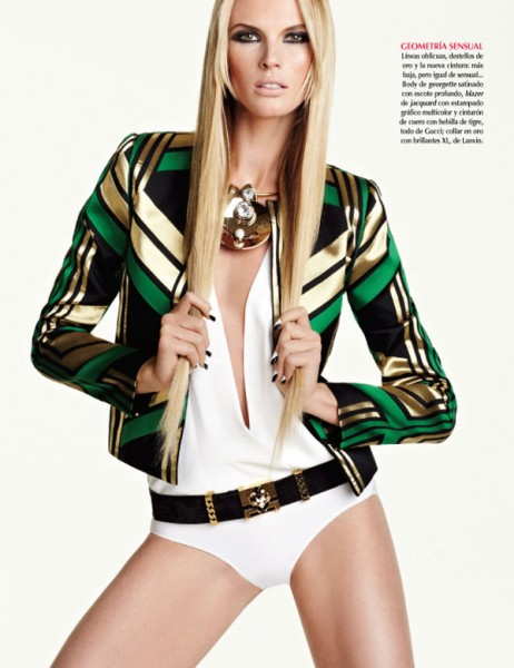 Anne Vyalitsyna Sports Graphic Prints for Vogue Mexico July, Shot by David Roemer