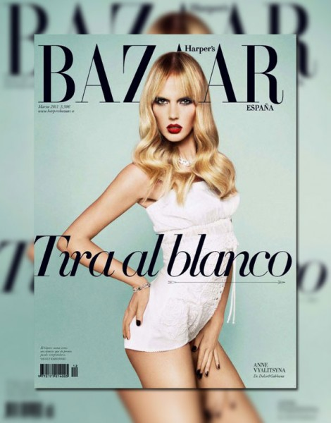Harper's Bazaar Spain March 2011 Cover | Anne Vyalitsyna by Txema Yeste