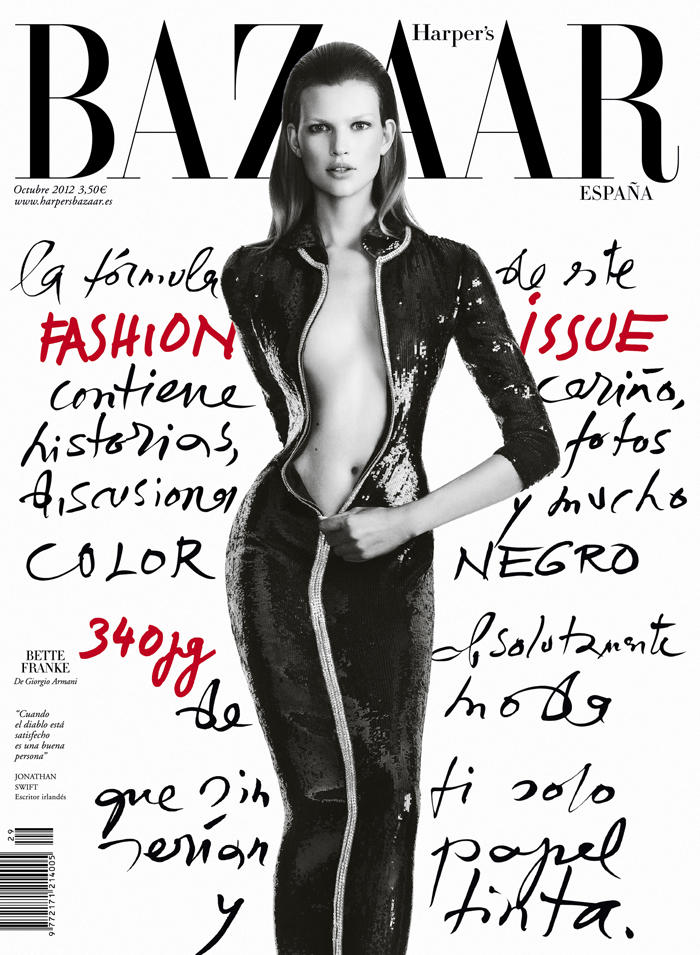 An Armani Clad Bette Franke Covers Harper's Bazaar Spain October 2012