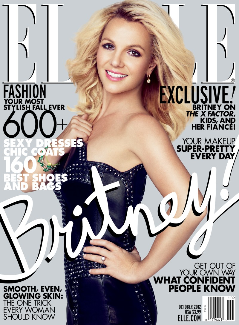 Britney Spears Graces the October 2012 Issue of Elle US in Versace