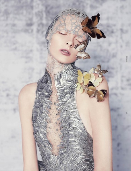 Elza Luijendijk Wears Butterfly Beauty for Ben Toms' Dazed & Confused Shoot