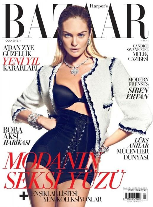 Harper's Bazaar Turkey January 2012 Cover | Candice Swanepoel by Koray Birand