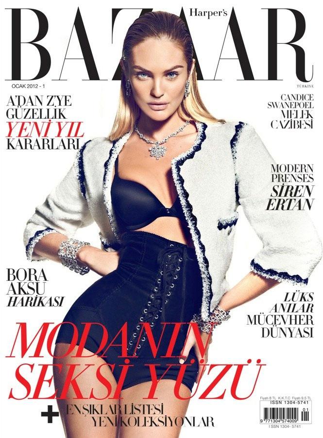 Harper's Bazaar Turkey January 2012 Cover   Candice Swanepoel by Koray Birand