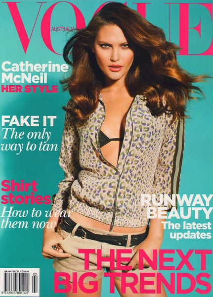 <em>Vogue Australia</em> February 2011 Cover | Catherine McNeil by Max Doyle