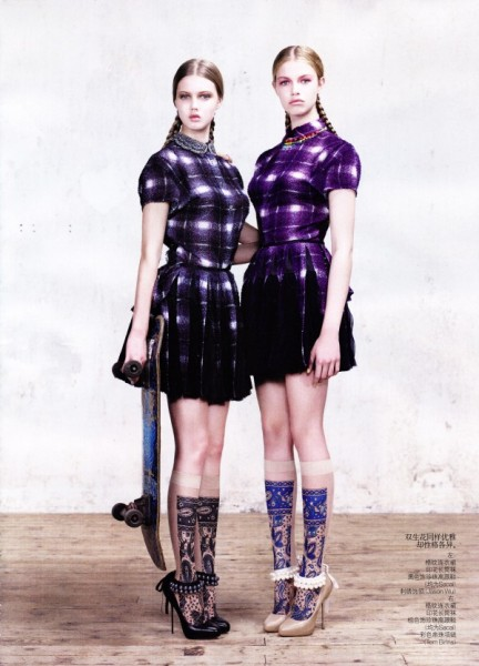 Lindsey Wixson & Hailey Clauson by Willy Vanderperre for <em>Vogue China</em> March 2011