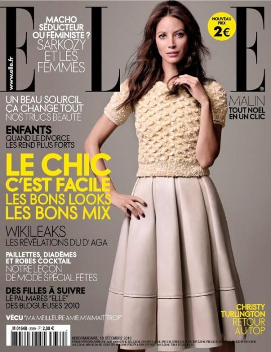 Christy Turlington for Elle France December 10, 2010
