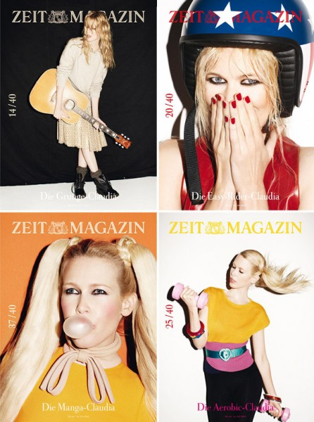 Claudia Schiffer for <em>ZEIT Magazine's</em> 40th Anniversary | 40 Covers by Frederike Helwig