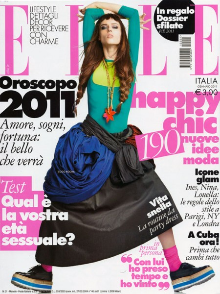 <em>Elle Italia</em> January 2011 Cover | Coco Rocha by Alexei Hay