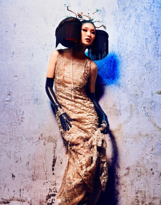 Emma Xie and Claire Collins Don Haute Couture Style for L'Officiel Paris October 2012