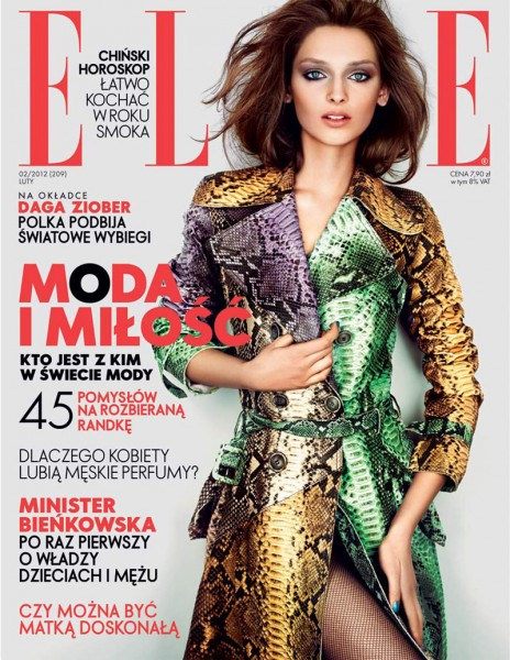 <em>Elle Poland</em> February 2012 Cover | Daga Ziober by Mateusz Stankiewicz