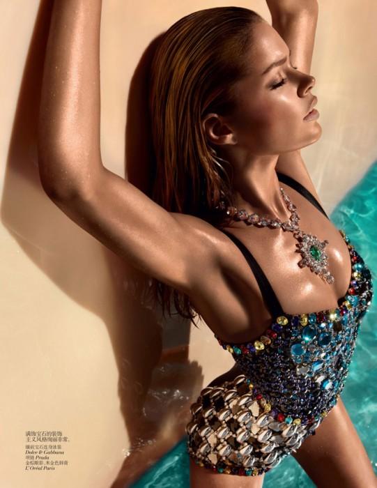 Doutzen Kroes Wears Sexy Swimwear for Vogue China's June Issue
