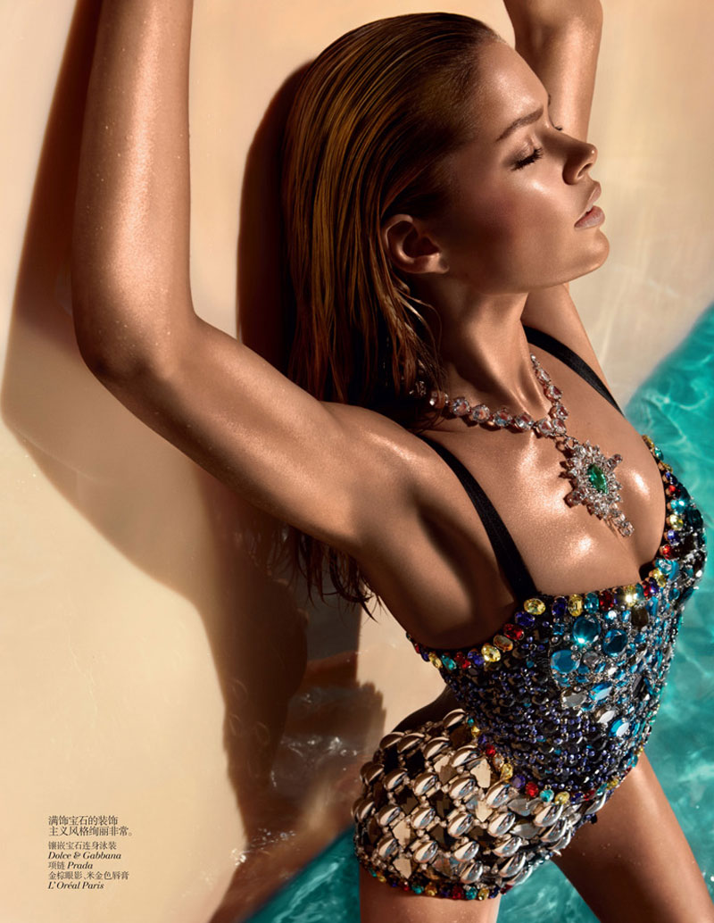 Doutzen Kroes Wears Sexy Swimwear for Vogue China's June Issue