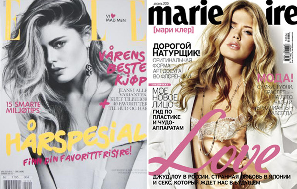 Doutzen Kroes April 2010 Covers | <em>Elle Norway</em> & <em>Marie Claire Russia</em>