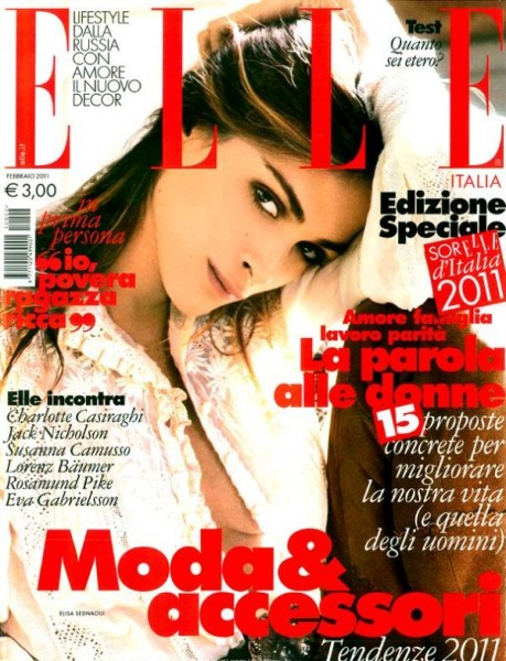 <em>Elle Italia</em> February 2011 Cover | Elisa Sednaoui by Matt Jones