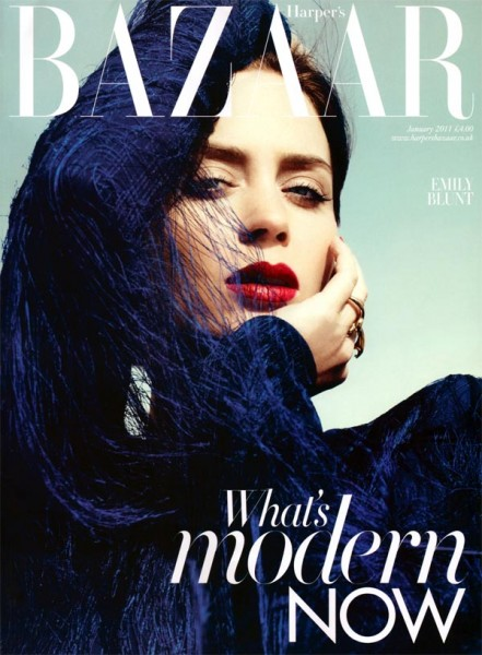<em>Harper&#8217;s Bazaar UK</em> January 2011 Cover | Emily Blunt by Paola Kudacki