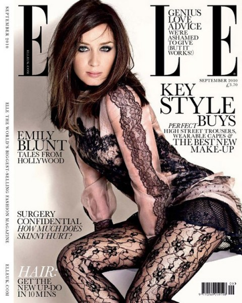 <em>Elle UK</em> September 2010 Cover | Emily Blunt by Matthias Vriens-McGrath