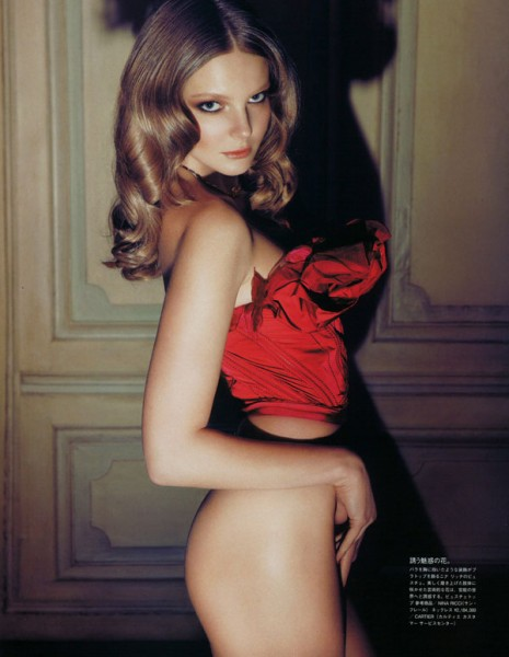 Eniko Mihalik by Camilla Akrans in Red Star | <em>Vogue Nippon</em> August 2010