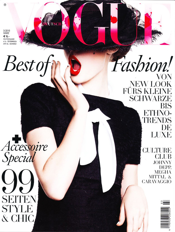 Vogue Germany March 2010 Cover | Frida Gustavsson by Greg Kadel