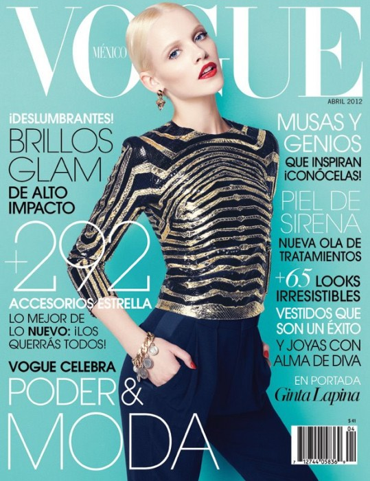 Vogue Mexico April 2012 Cover | Ginta Lapina by Nagi Sakai