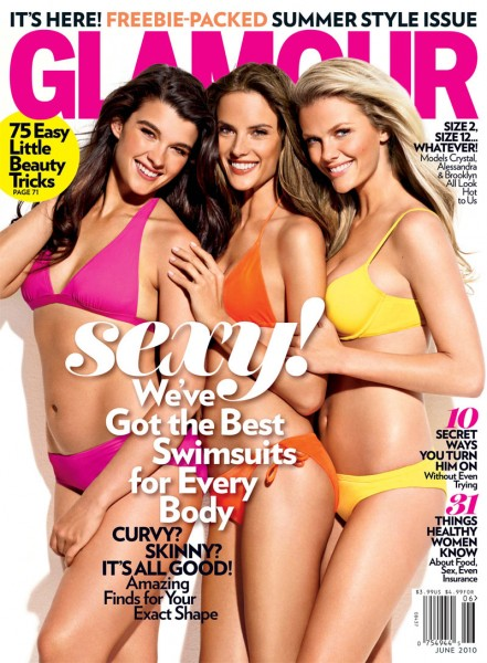 <em>Glamour</em> June 2010 Cover | Crystal Renn, Alessandra Ambrosio & Brooklyn Decker by Matthias Vriens-McGrath