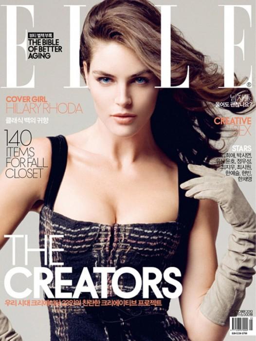 Elle Korea October 2010 Cover | Hilary Rhoda by Ryan Yoon